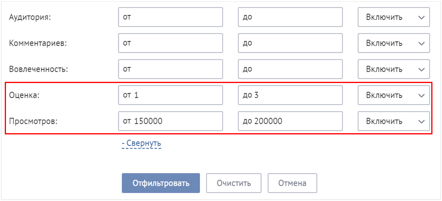 численные фильтры в системе мониторинга и анализа соцмедиа Brand Analytics