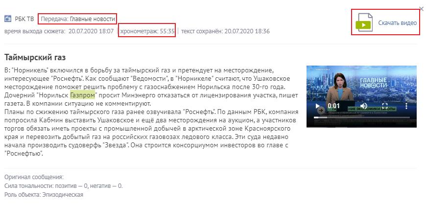 видеосюжет в мониторинге СМИ Brand Analytics